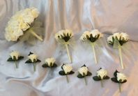 WEDDING PACKAGE ARTIFICIAL FLOWERS ROSE WEDDING BOUQUETS LEMON & IVORY BRIDE